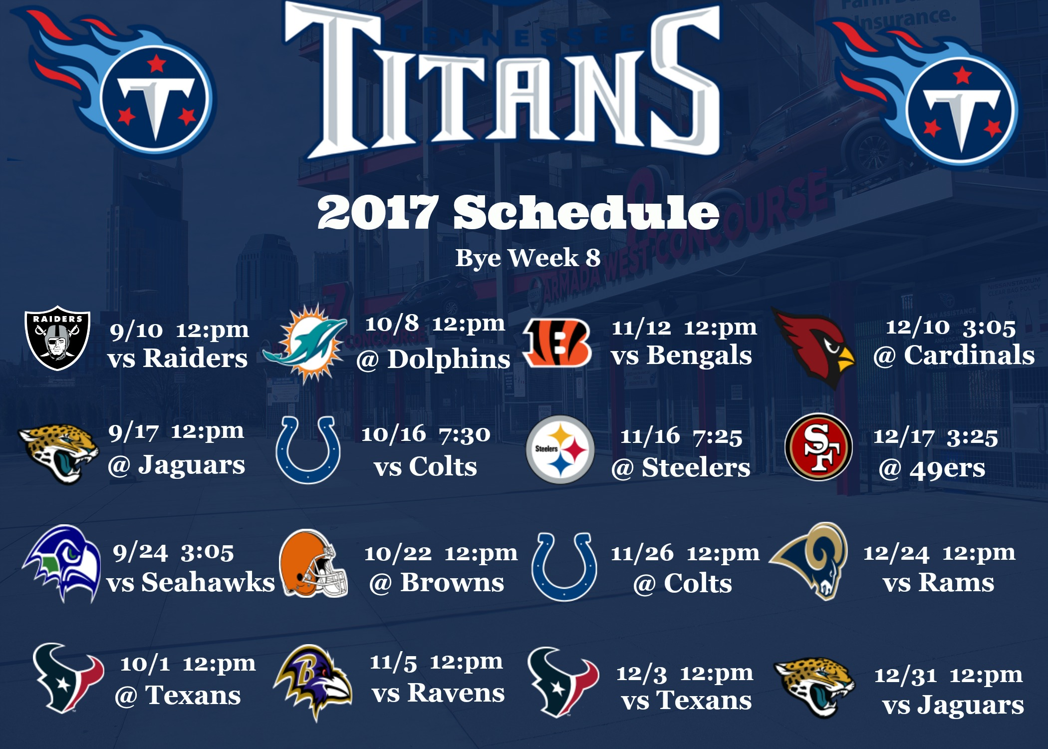 Tennessee Titans 2017 Schedule Wallpaper