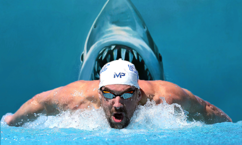 Micheal Phelps Races Shark Promo
