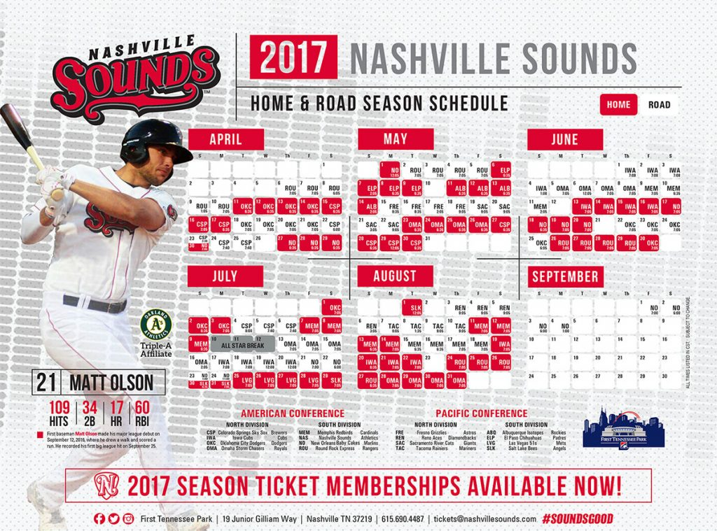 Nashville Sounds Look To Finish Strong schedule